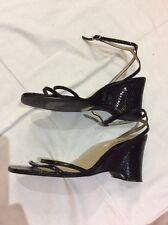 Well Worn NEXT Black Snakeskin Effect Wedge Leather Sandals UK 6