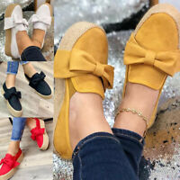 Women Platform Casual Shoes Suede Espadrilles Slip On Loafers Comfort Flat Pumps