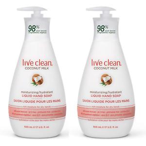 Live Clean Moisturizing Liquid Hand Soap Coconut Milk 17oz 500ml New  X 2Bottles