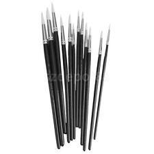 12 Artist Brush Set Assorted Pointed Paint Brushes Hobby Models Craft Black