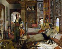 The Harem by English  John Frederick Lewis. Canvas History.  11x14 Print