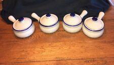 4 Vtg Ceramic French Onion Soup/ Chili Bowls w/ Lids & Handle-Blue & Light Grey