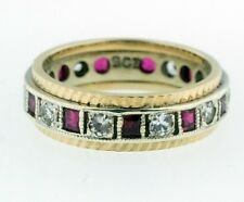 Vintage 9Ct Yellow & White Gold Rubellite Spinel Ring (Size J 1/2) 5mm Width
