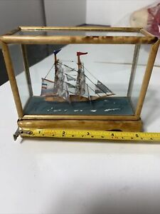 MINI FRENCH NAVY FLAG SAILBOAT FIGURINE IN WOOD GLASS CASING NAUTICAL OCEAN
