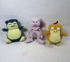 """Lot of 3 Pokemon 6"""" Beanie Plush Snorlax Mewtwo Psyduck Nintendo Game Freak 1998"""