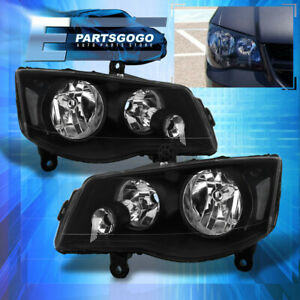 For 11-19 Grand Caravan 08-16 Town&Country Black Replacement Headlights Lamps