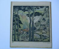 HUGO HENNBERG LINOCUT? WOODCUT? LARGE RARE ANTIQUE ARTS AND CRAFTS LANDSCAPE
