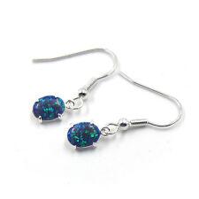 Gemstone Silver Dangle Earrings E025 Orange Fire Opal Women Jewelry