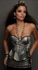NWT $200 KIMIKAL MIAMI EMBELLISHED ANIMAL PRINT BUSTIER CORSET TOP NECKLACE 34B