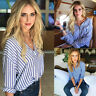 Fashion Women Loose Striped T shirt Blouse Lady Casual Long Sleeve Tops Shirt