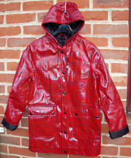 PVTop Shop glossy plastic shiny mac PVC vinyl raincoat Gingham jacket UK 6 EU 34