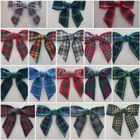 Large Tartan Ribbon Bows 5.5 cm-Pkt 5,10,25-Wedding,Embellishment,Craft,Handmade