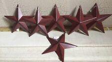 "(Set of 6 ) BURGUNDY BLACK BARN STARS 5.5"" PRIMITIVE COUNTRY DECOR ANTIQUE"