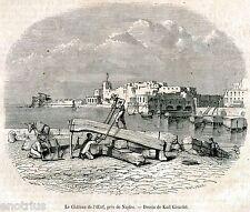 Napoli:Castel dell'Ovo.Regno delle Due Sicilie.Stampa Antica + Passepartout.1857