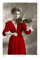Antique RPPC postcard Miss Marie Hall Violinist music hall theatre