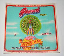 "Vintage Peacock Brand Firecracker Label 3"" Cannon 1960's NOS FireWorks"