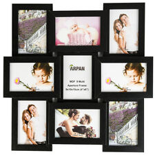 (black) - ARPAN MDF Multi Aperture Picture Photo Frame Holds 9 X 6 X 4