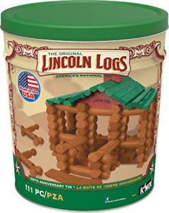 Lincoln Logs –100th Anniversary Tin-111 Pieces-Real Wood Building Blocks Kit