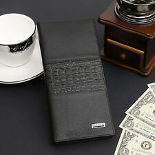 Men's Long Wallet Leather Bifold Clutch ID Card Holder Business Checkbook Purse