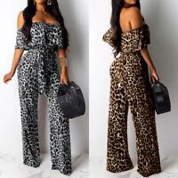 UK Women Off Shoulder Palazzo Jumpsuit Ladies Leopard Party Playsuit Romper Size