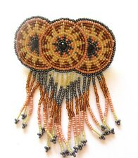 Spirit of Nature Hair Clip Seed Beads yellow pink gray brown- dangling fringe