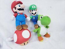 Super Mario Bros(Mario, Luigi, Mushroom, Yoshi) Plush 8in-10in Used