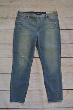 LOFT Modern High Waist Skinny Ankle Jeans Size 33 / 16 Light Wash Distressed NWT