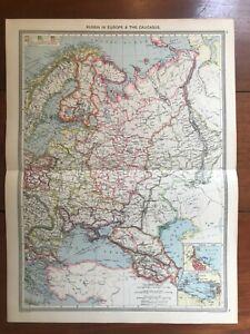 Russia in Europe & Caucasus - Harmsworth Atlas Map Circa 1906