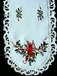 """Christmas Cardinal Embroidered Oval Lace Table Runner 16""""x69"""""""