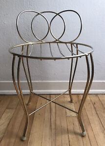 Vintage Gold Metal Vanity Stool ~ Short Bench ~ Elegant Hollywood Regency