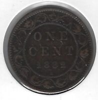 1882 Canada One Cent Coin F-12