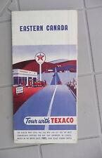 1954 Eastern Canada road  map Texaco  gas oil Ontario Quebec Maritimes