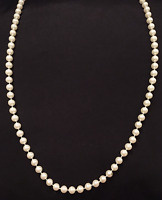 VINTAGE JEWELRY - 1950s Victorian Rv. Round White Faux Pearl Bead Long Necklace