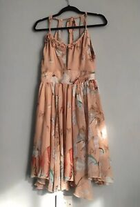 Lipsy Women's Strappy Open Back Floral Polyester Fit&Flare Dress Beige Mix 10