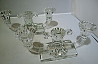 """Vintage Heisey Glass """"Regencey"""" Pair of Two Light Candle Holders"""