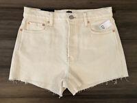 GAP Denim Women's Ivory Cut Off Cotton Blend High Rise Cheeky Shorts-Size 8/29