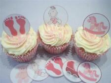 Its A Girl Baby Shower Edible Cupcake Toppers Cake Decorations Pink Feet Baptism