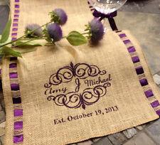 "12"" X 60"" Monogram Personalized Burlap Ribbon Trim Table Runner Wedding Decor"
