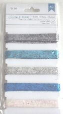 Decorative Glitter Ribbon Dark and Light Silver Blue Aque Iridescent Pink, NEW