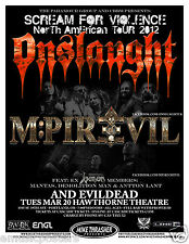 Onslaught / Mpire Of Evil 2012 Portland Concert Tour Poster -Thrash Metal