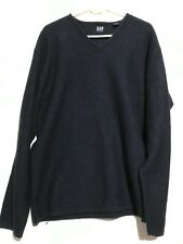 Men's Gap Navy Blue Chunky V-Neck 100% Wool Pullover Sweater. Size XL