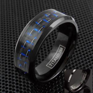 Engraved Black Titanium Men's Blue Carbon Fiber Inlaid Center Band Ring