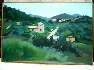 Maurice Cockrill French Landscape oil painting 1980, Bridewell Studios Liverpool