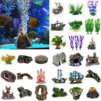 Artificial Aquarium Ornament Fish Tank Stone House Resin DIY Landscape Decor LOT