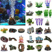 Artificial Aquarium Ornament Fish Tank Stone House Resin DIY Landscape Decor LOT