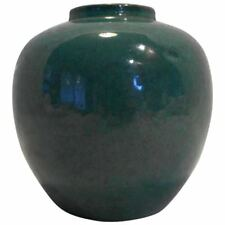 Chinese Green Monochrome Porcelain Vase Jar 18th-19th Century Blue Double Ring