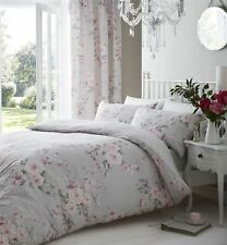 GREY PINK ROSE FLORAL DOUBLE COTTON BLEND REVERSIBLE DUVET COMFORTER COVER
