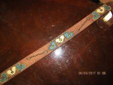 Ladies Distressed Brown Leather Teal & Cream Belt Heart Inlays, Handmade, Sz. 32