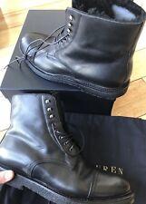 Ralph Lauren Purple Label TRYSTAN Black Vachetta Leather Shearling Boots 10 D