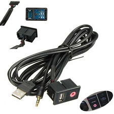 Car Flush Mount 3.5mm AUX USB Headphone Jack Mounting Panel Dash Dock Input Lead